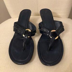 Lilly Pulitzer Navy McKim Wedge Flip Flop Sandals